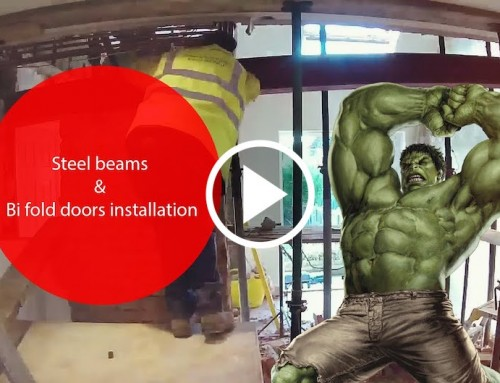 Steel Beam Installation With Bi Fold Doors – Epsom
